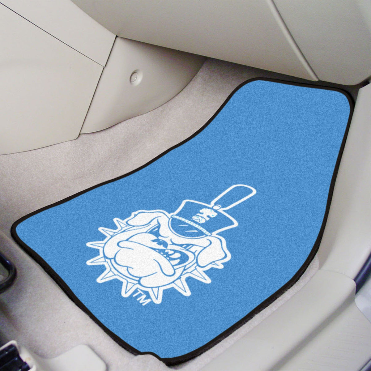 Collegiate - Carpet Car Mat, 2-Piece Set: T - Z Collegiate Car Mat, Front Car Mats, 2-pc Carpet Car Mat Set, Collegiate, Auto Fan Mats The Citadel