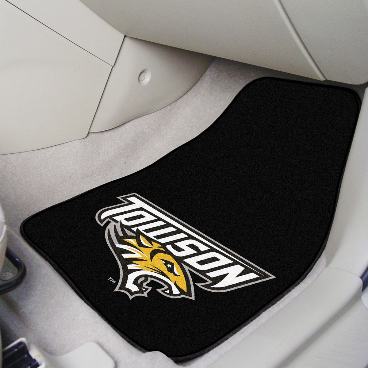 Collegiate - Carpet Car Mat, 2-Piece Set: T - Z Collegiate Car Mat, Front Car Mats, 2-pc Carpet Car Mat Set, Collegiate, Auto Fan Mats Towson
