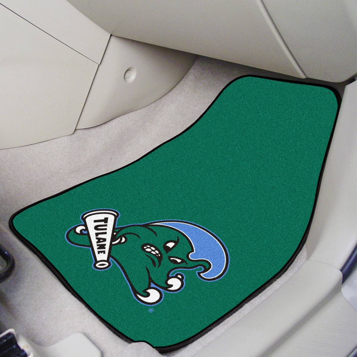 Collegiate - Carpet Car Mat, 2-Piece Set: T - Z Collegiate Car Mat, Front Car Mats, 2-pc Carpet Car Mat Set, Collegiate, Auto Fan Mats Tulane