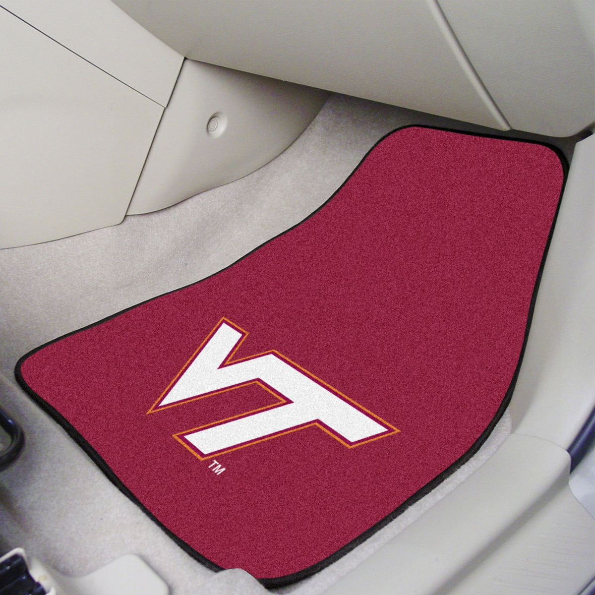 Collegiate - Carpet Car Mat, 2-Piece Set: T - Z Collegiate Car Mat, Front Car Mats, 2-pc Carpet Car Mat Set, Collegiate, Auto Fan Mats Virginia Tech