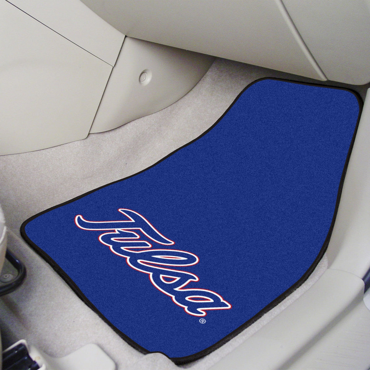 Collegiate - Carpet Car Mat, 2-Piece Set: T - Z Collegiate Car Mat, Front Car Mats, 2-pc Carpet Car Mat Set, Collegiate, Auto Fan Mats Tulsa