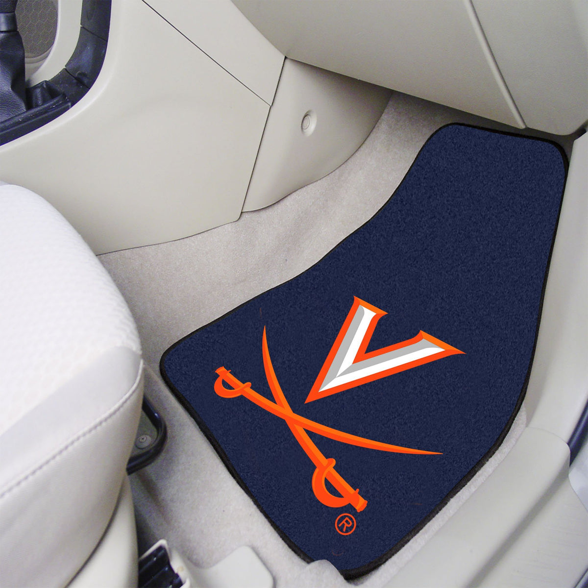 Collegiate - Carpet Car Mat, 2-Piece Set: T - Z Collegiate Car Mat, Front Car Mats, 2-pc Carpet Car Mat Set, Collegiate, Auto Fan Mats Virginia