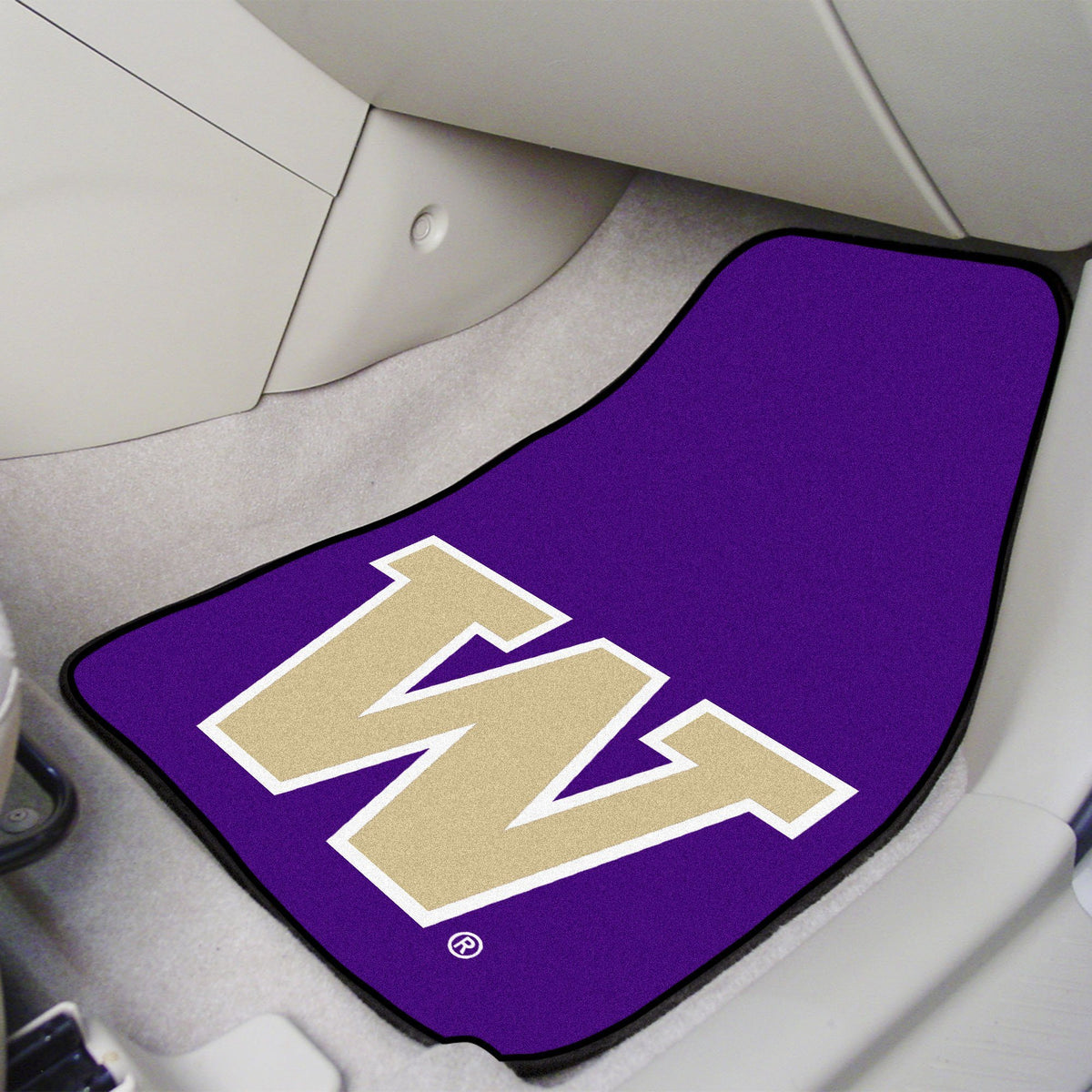 Collegiate - Carpet Car Mat, 2-Piece Set: T - Z Collegiate Car Mat, Front Car Mats, 2-pc Carpet Car Mat Set, Collegiate, Auto Fan Mats Washington
