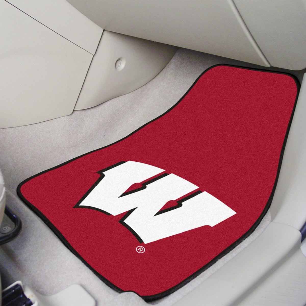 Collegiate - Carpet Car Mat, 2-Piece Set: T - Z Collegiate Car Mat, Front Car Mats, 2-pc Carpet Car Mat Set, Collegiate, Auto Fan Mats Wisconsin