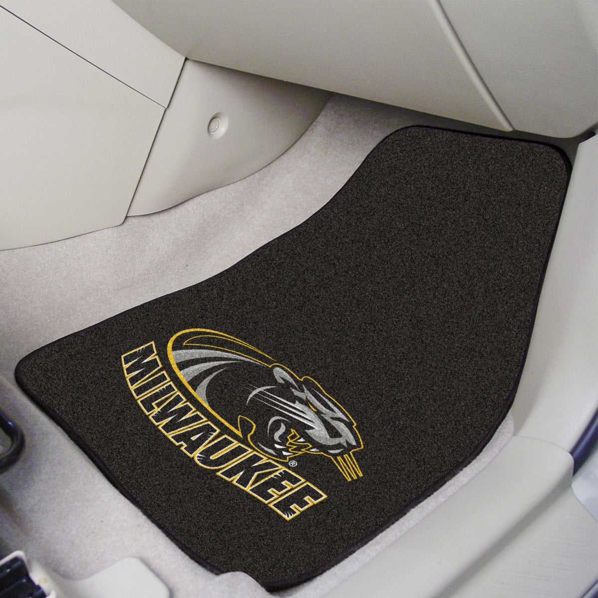 Collegiate - Carpet Car Mat, 2-Piece Set: T - Z Collegiate Car Mat, Front Car Mats, 2-pc Carpet Car Mat Set, Collegiate, Auto Fan Mats Wisconsin-Milwaukee
