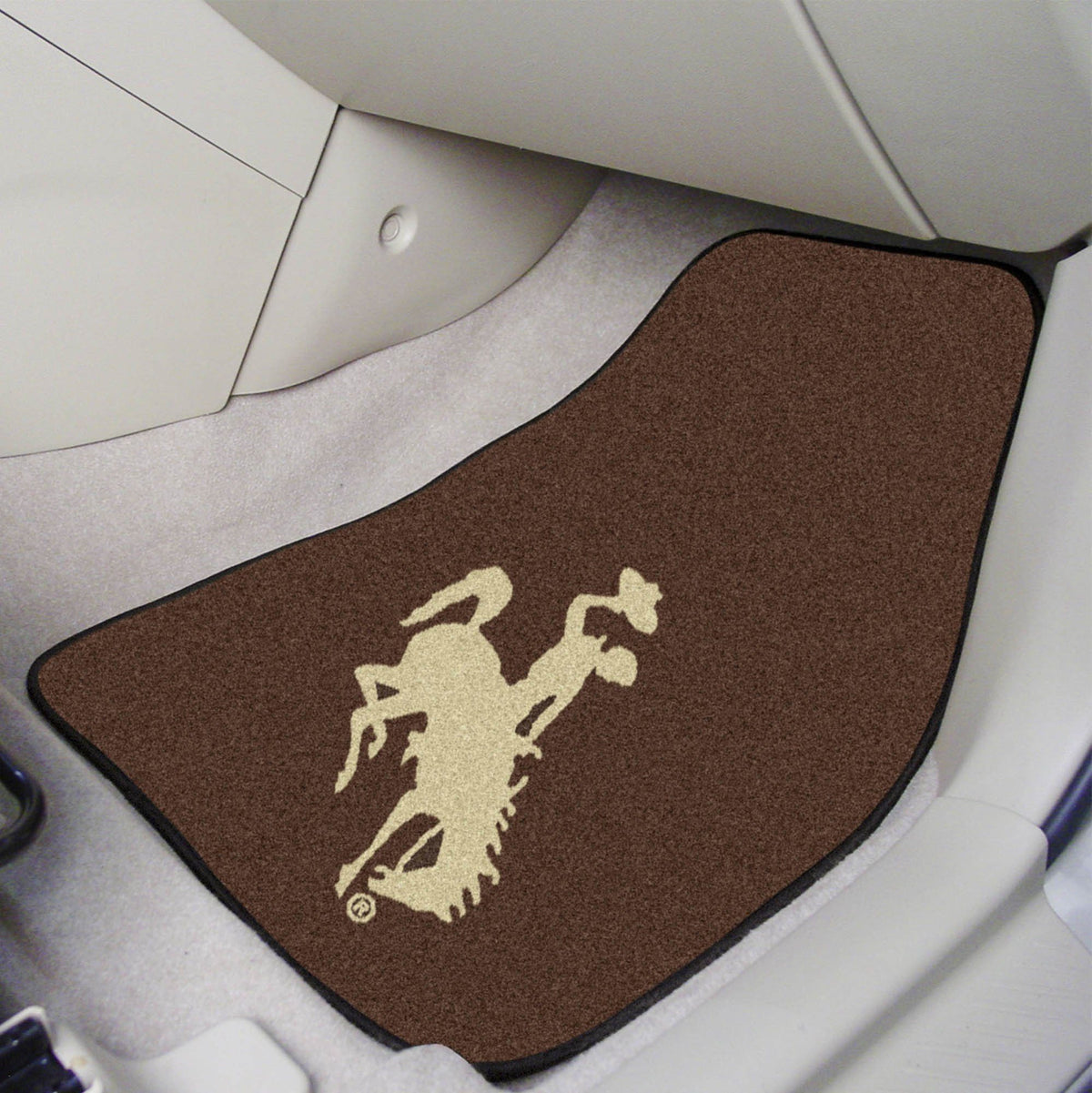 Collegiate - Carpet Car Mat, 2-Piece Set: T - Z Collegiate Car Mat, Front Car Mats, 2-pc Carpet Car Mat Set, Collegiate, Auto Fan Mats Wyoming