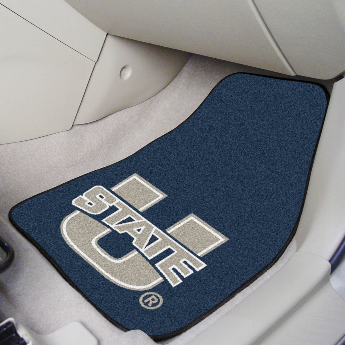 Collegiate - Carpet Car Mat, 2-Piece Set: T - Z Collegiate Car Mat, Front Car Mats, 2-pc Carpet Car Mat Set, Collegiate, Auto Fan Mats Utah State