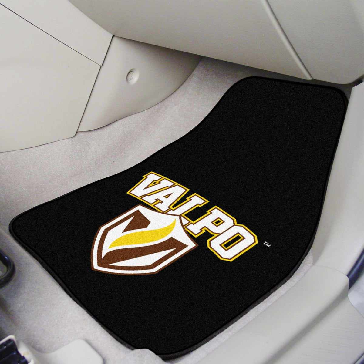 Collegiate - Carpet Car Mat, 2-Piece Set: T - Z Collegiate Car Mat, Front Car Mats, 2-pc Carpet Car Mat Set, Collegiate, Auto Fan Mats Valparaiso