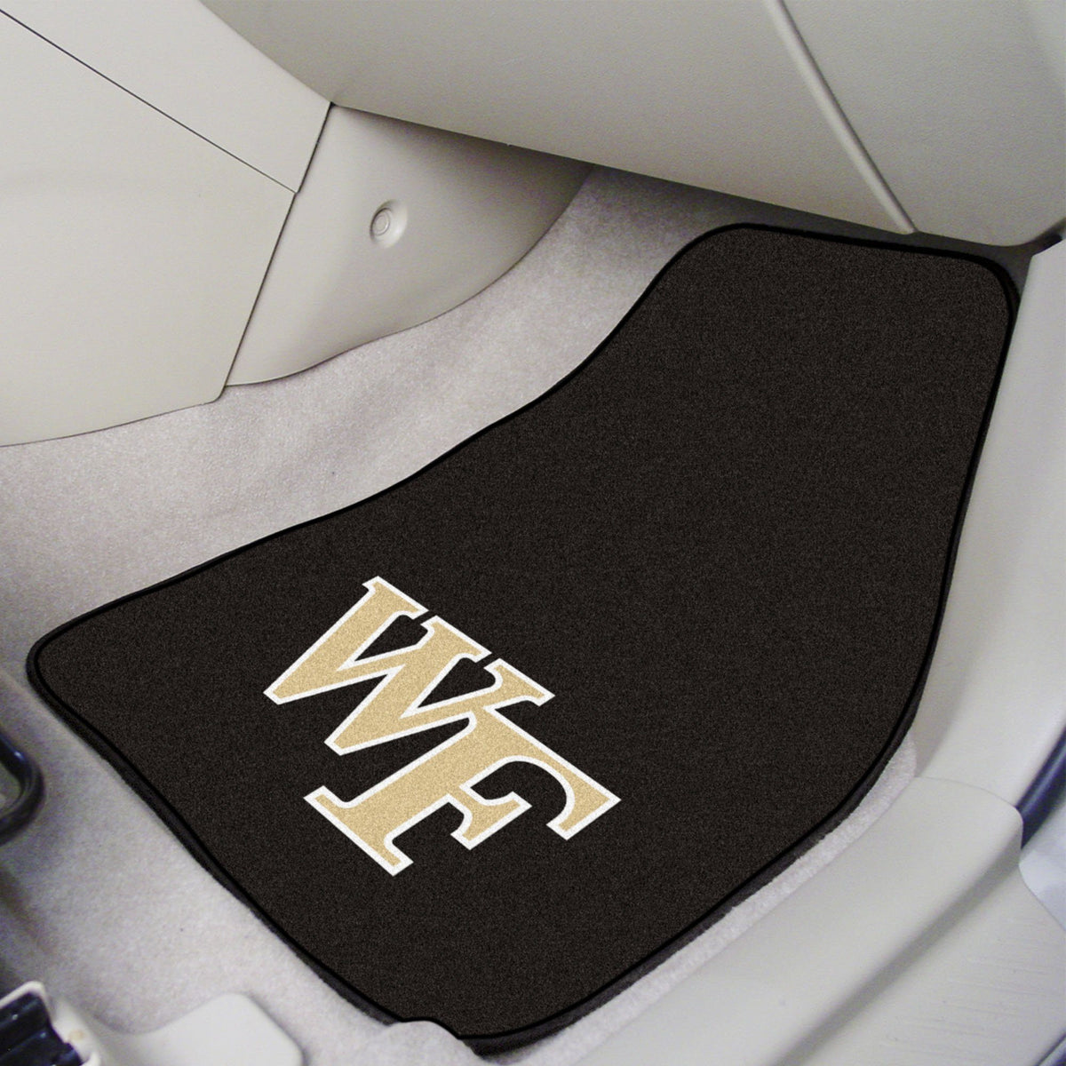 Collegiate - Carpet Car Mat, 2-Piece Set: T - Z Collegiate Car Mat, Front Car Mats, 2-pc Carpet Car Mat Set, Collegiate, Auto Fan Mats Wake Forest