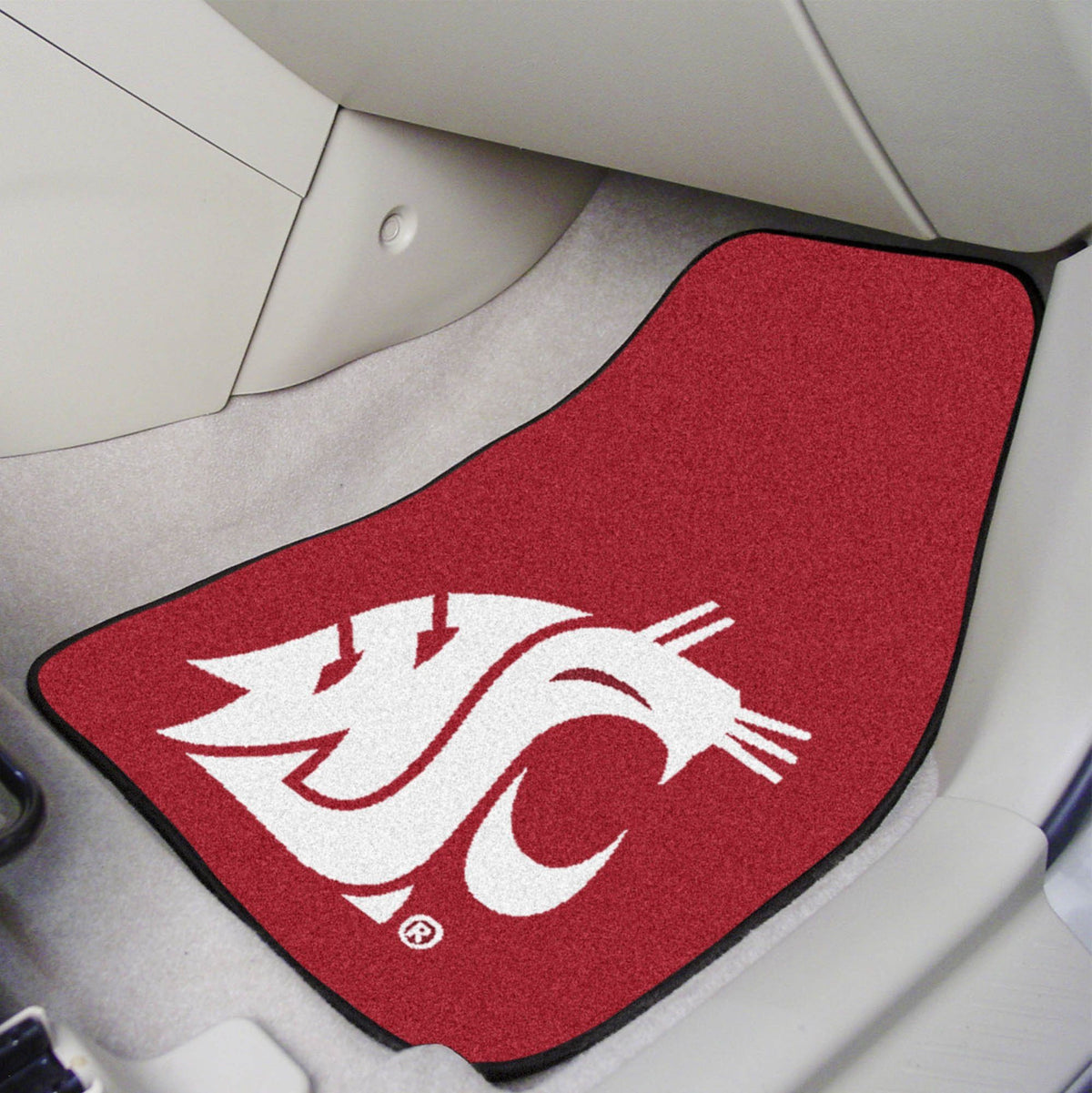 Collegiate - Carpet Car Mat, 2-Piece Set: T - Z Collegiate Car Mat, Front Car Mats, 2-pc Carpet Car Mat Set, Collegiate, Auto Fan Mats Washington State