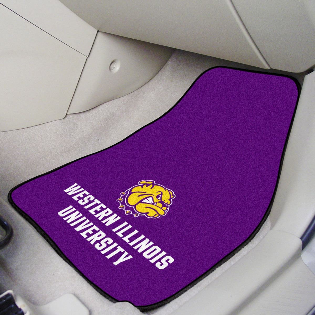 Collegiate - Carpet Car Mat, 2-Piece Set: T - Z Collegiate Car Mat, Front Car Mats, 2-pc Carpet Car Mat Set, Collegiate, Auto Fan Mats Western Illinois