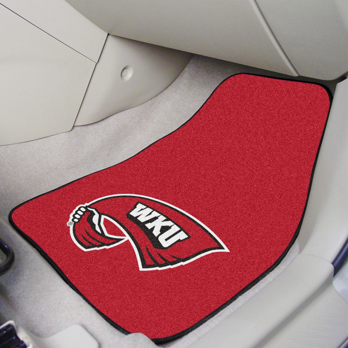 Collegiate - Carpet Car Mat, 2-Piece Set: T - Z Collegiate Car Mat, Front Car Mats, 2-pc Carpet Car Mat Set, Collegiate, Auto Fan Mats Western Kentucky