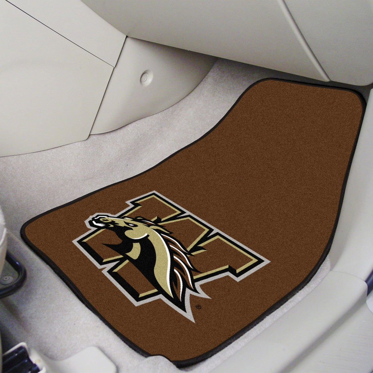 Collegiate - Carpet Car Mat, 2-Piece Set: T - Z Collegiate Car Mat, Front Car Mats, 2-pc Carpet Car Mat Set, Collegiate, Auto Fan Mats Western Michigan