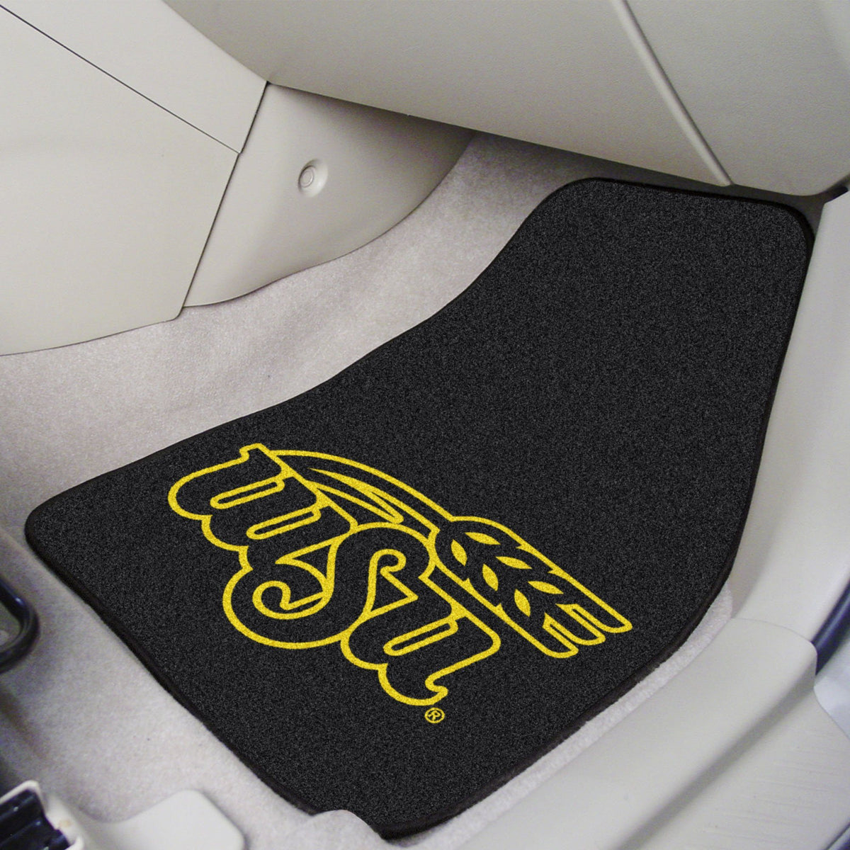 Collegiate - Carpet Car Mat, 2-Piece Set: T - Z Collegiate Car Mat, Front Car Mats, 2-pc Carpet Car Mat Set, Collegiate, Auto Fan Mats Wichita State