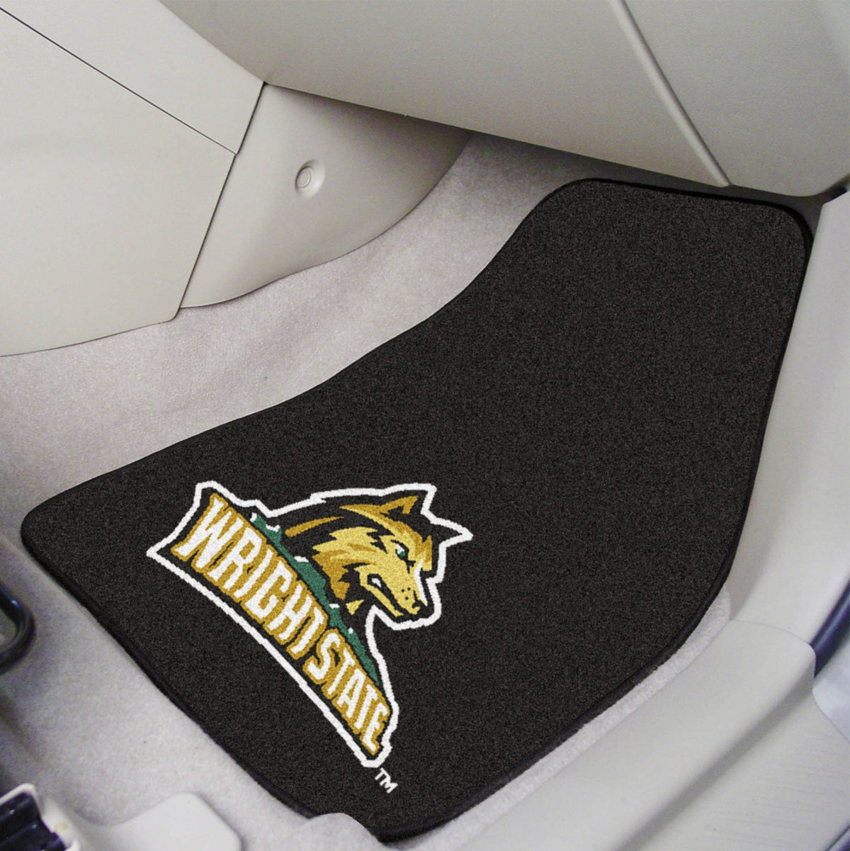 Collegiate - Carpet Car Mat, 2-Piece Set: T - Z Collegiate Car Mat, Front Car Mats, 2-pc Carpet Car Mat Set, Collegiate, Auto Fan Mats Wright State