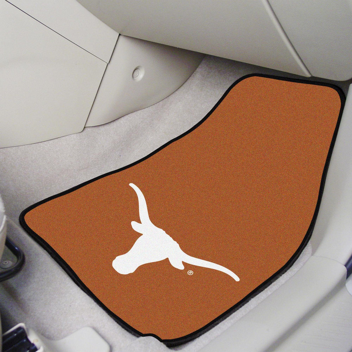 Collegiate - Carpet Car Mat, 2-Piece Set: T - Z Collegiate Car Mat, Front Car Mats, 2-pc Carpet Car Mat Set, Collegiate, Auto Fan Mats Texas