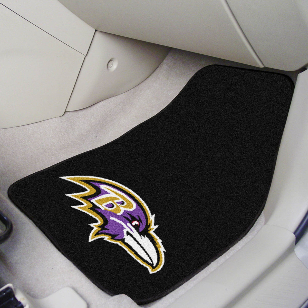 "NFL - 2-pc Carpet Car Mat Set, 17"" x 27"" NFL Mats, Front Car Mats, 2-pc Carpet Car Mat Set, NFL, Auto Fan Mats Baltimore Ravens"