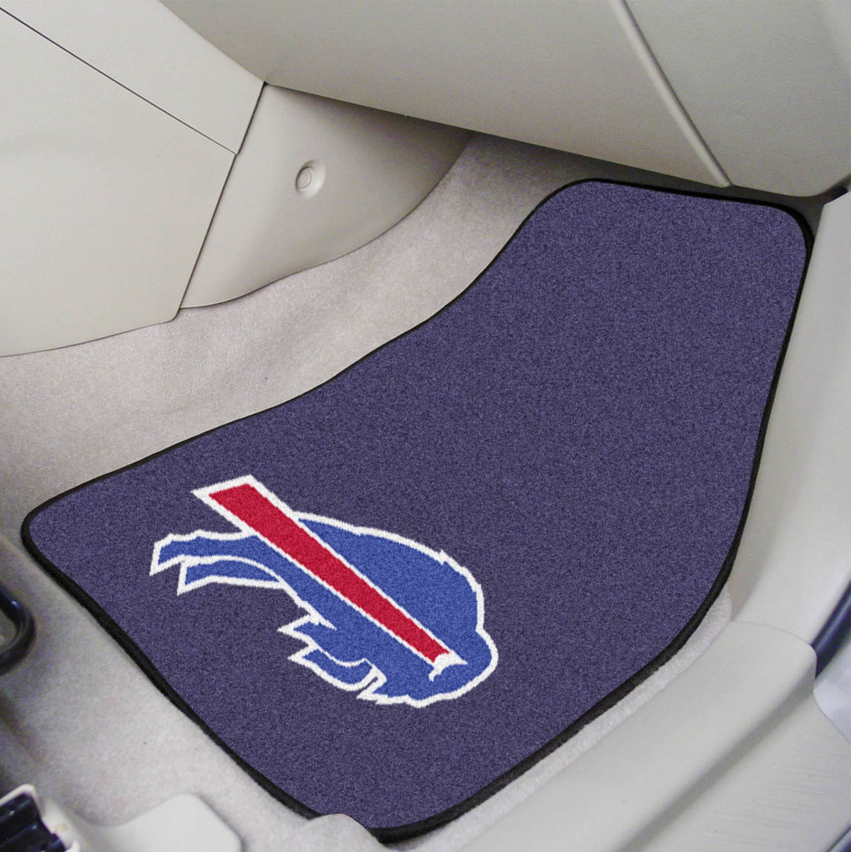 "NFL - 2-pc Carpet Car Mat Set, 17"" x 27"" NFL Mats, Front Car Mats, 2-pc Carpet Car Mat Set, NFL, Auto Fan Mats Buffalo Bills"