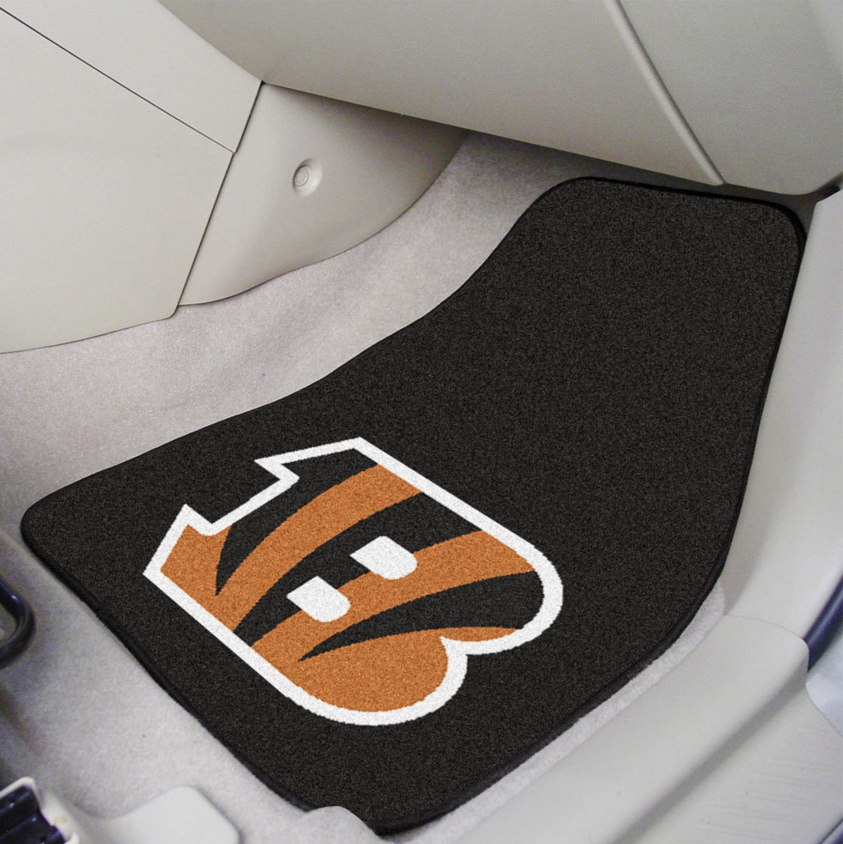 "NFL - 2-pc Carpet Car Mat Set, 17"" x 27"" NFL Mats, Front Car Mats, 2-pc Carpet Car Mat Set, NFL, Auto Fan Mats Cincinnati Bengals"