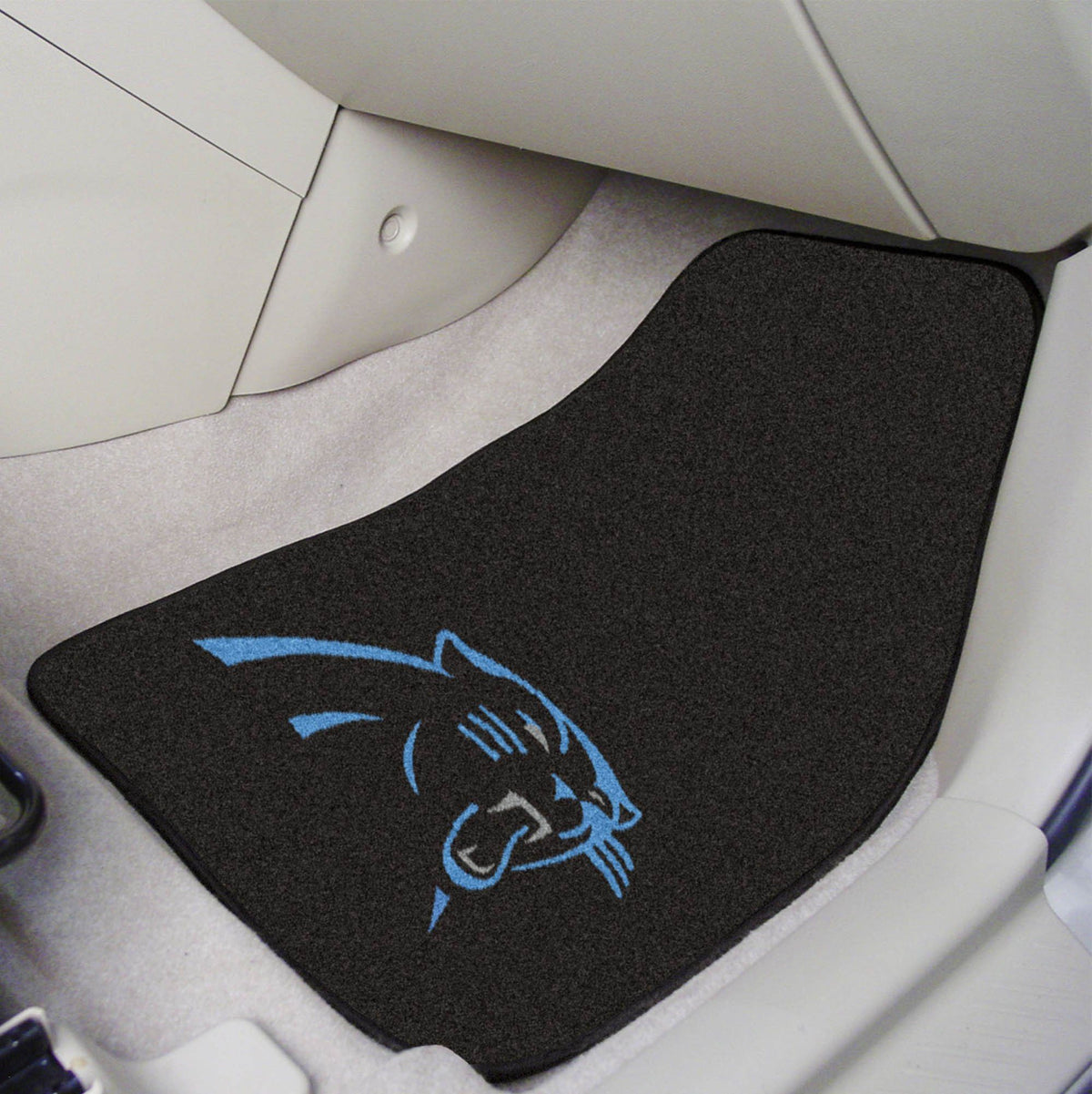 "NFL - 2-pc Carpet Car Mat Set, 17"" x 27"" NFL Mats, Front Car Mats, 2-pc Carpet Car Mat Set, NFL, Auto Fan Mats Carolina Panthers"