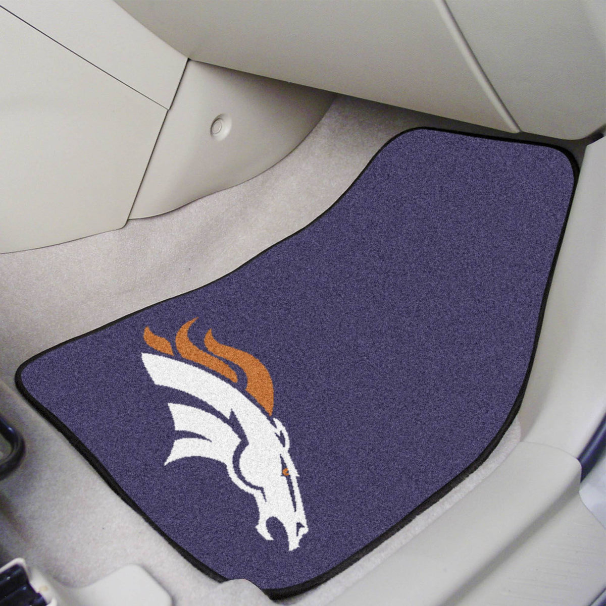 "NFL - 2-pc Carpet Car Mat Set, 17"" x 27"" NFL Mats, Front Car Mats, 2-pc Carpet Car Mat Set, NFL, Auto Fan Mats Denver Broncos"