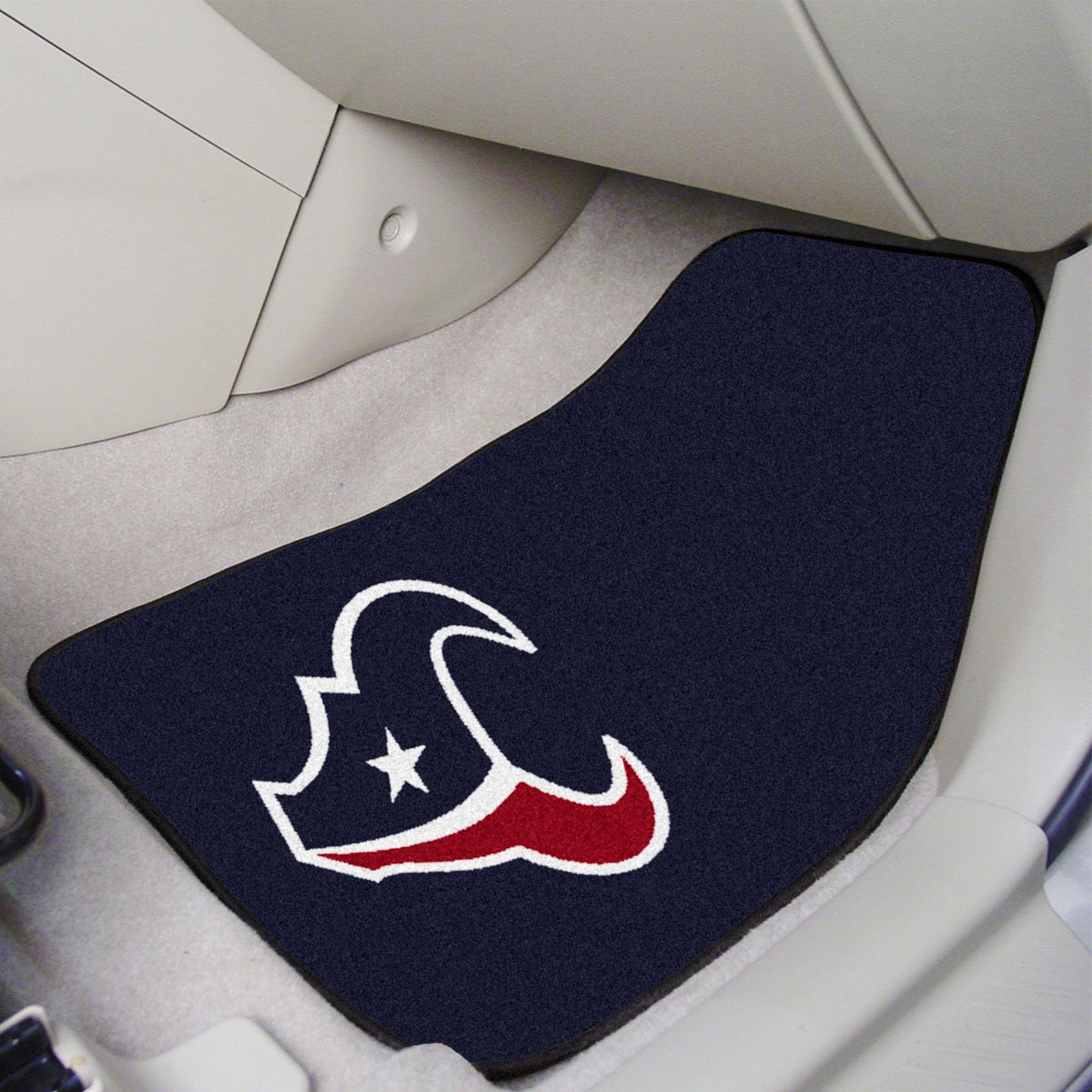 "NFL - 2-pc Carpet Car Mat Set, 17"" x 27"" NFL Mats, Front Car Mats, 2-pc Carpet Car Mat Set, NFL, Auto Fan Mats Houston Texans"