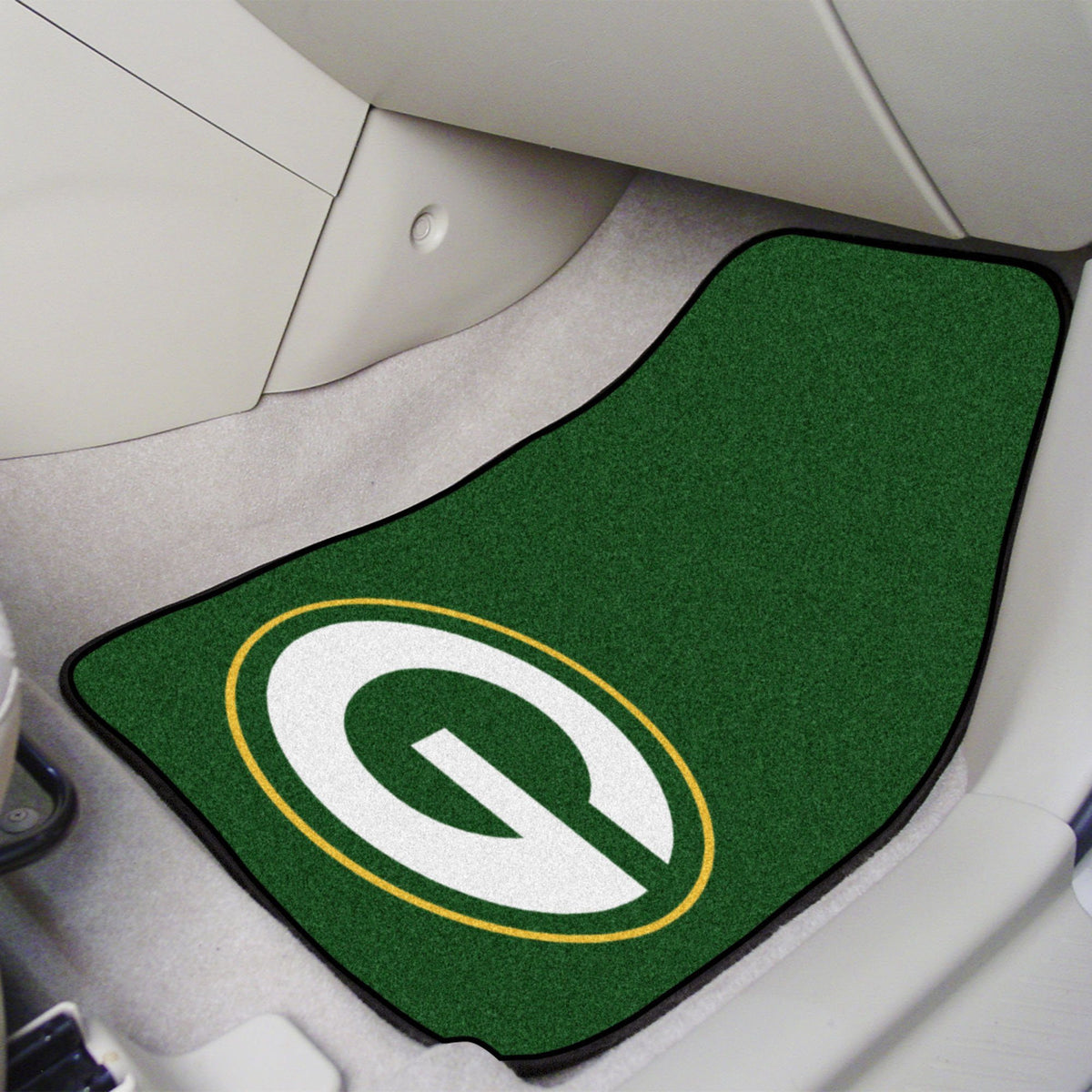 "NFL - 2-pc Carpet Car Mat Set, 17"" x 27"" NFL Mats, Front Car Mats, 2-pc Carpet Car Mat Set, NFL, Auto Fan Mats Green Bay Packers"