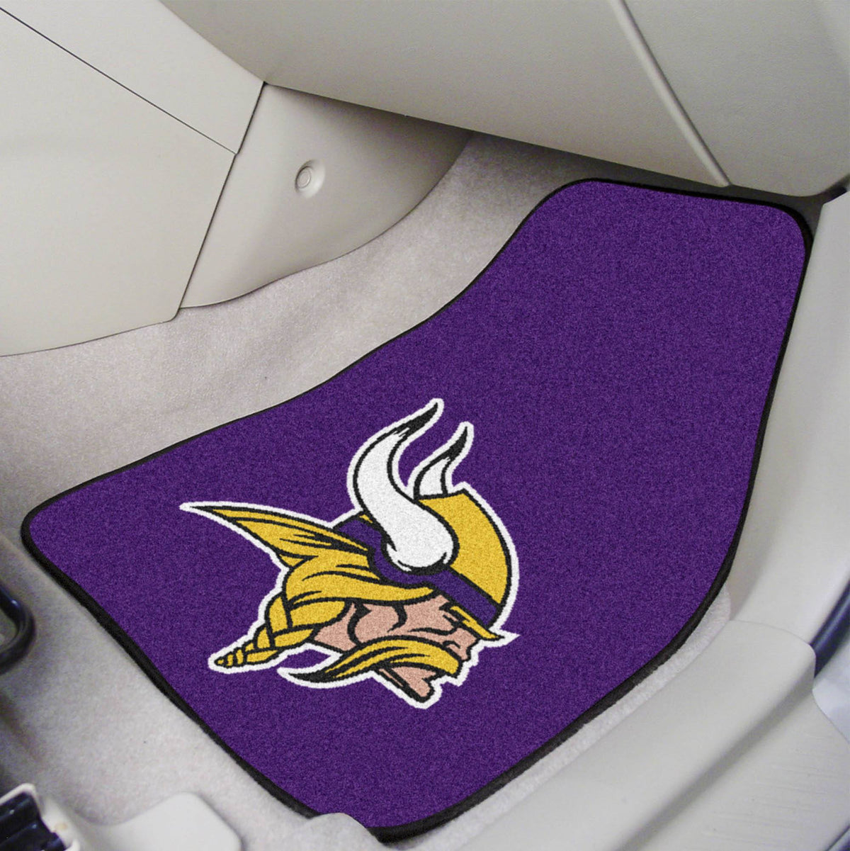 "NFL - 2-pc Carpet Car Mat Set, 17"" x 27"" NFL Mats, Front Car Mats, 2-pc Carpet Car Mat Set, NFL, Auto Fan Mats Minnesota Vikings"