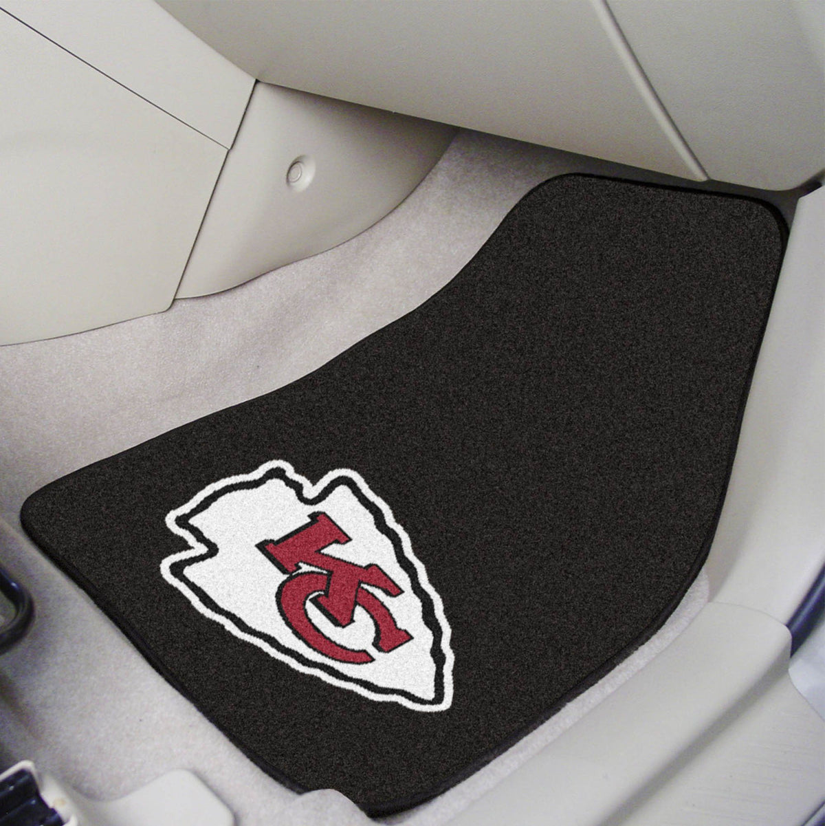 "NFL - 2-pc Carpet Car Mat Set, 17"" x 27"" NFL Mats, Front Car Mats, 2-pc Carpet Car Mat Set, NFL, Auto Fan Mats Kansas City Chiefs"