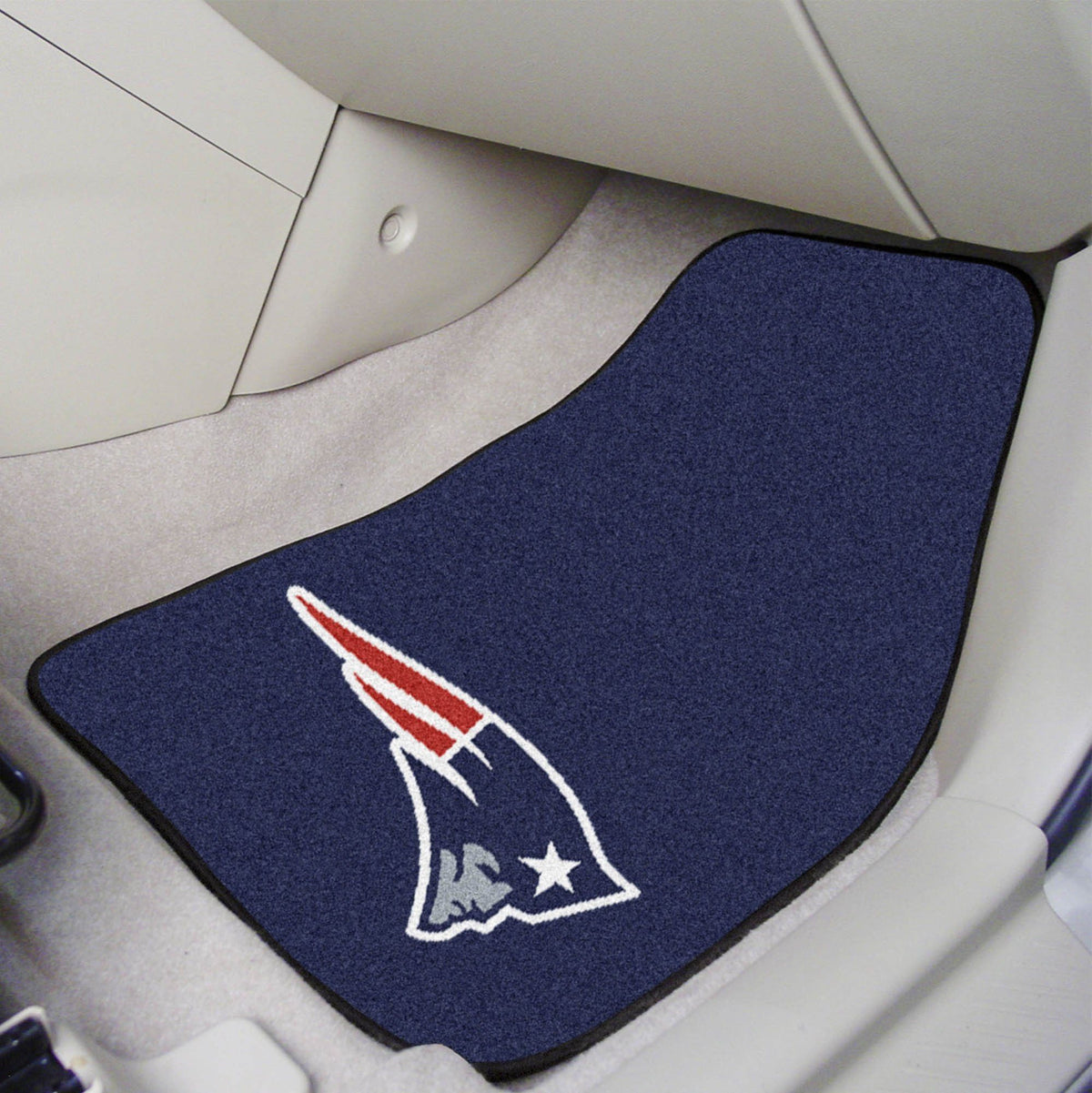 "NFL - 2-pc Carpet Car Mat Set, 17"" x 27"" NFL Mats, Front Car Mats, 2-pc Carpet Car Mat Set, NFL, Auto Fan Mats New England Patriots"