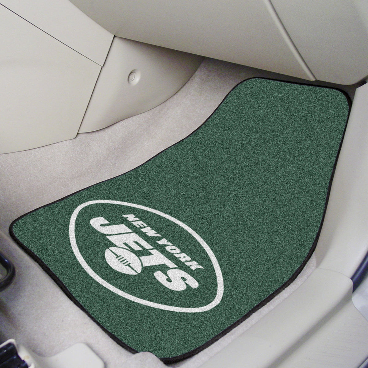 "NFL - 2-pc Carpet Car Mat Set, 17"" x 27"" NFL Mats, Front Car Mats, 2-pc Carpet Car Mat Set, NFL, Auto Fan Mats New York Jets"