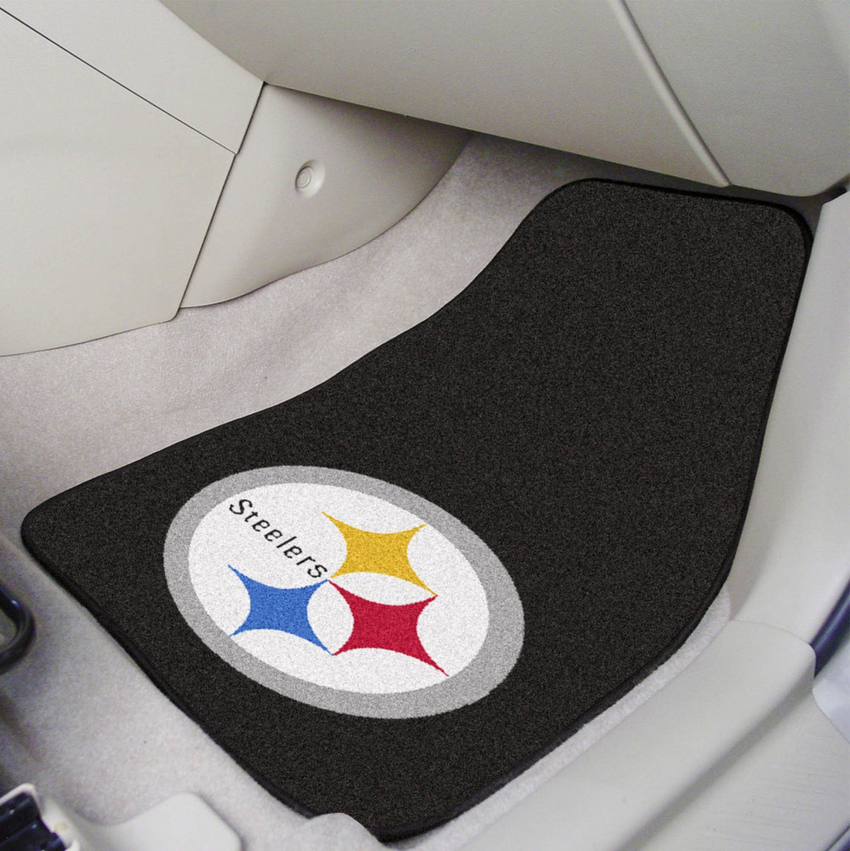 "NFL - 2-pc Carpet Car Mat Set, 17"" x 27"" NFL Mats, Front Car Mats, 2-pc Carpet Car Mat Set, NFL, Auto Fan Mats Pittsburgh Steelers"