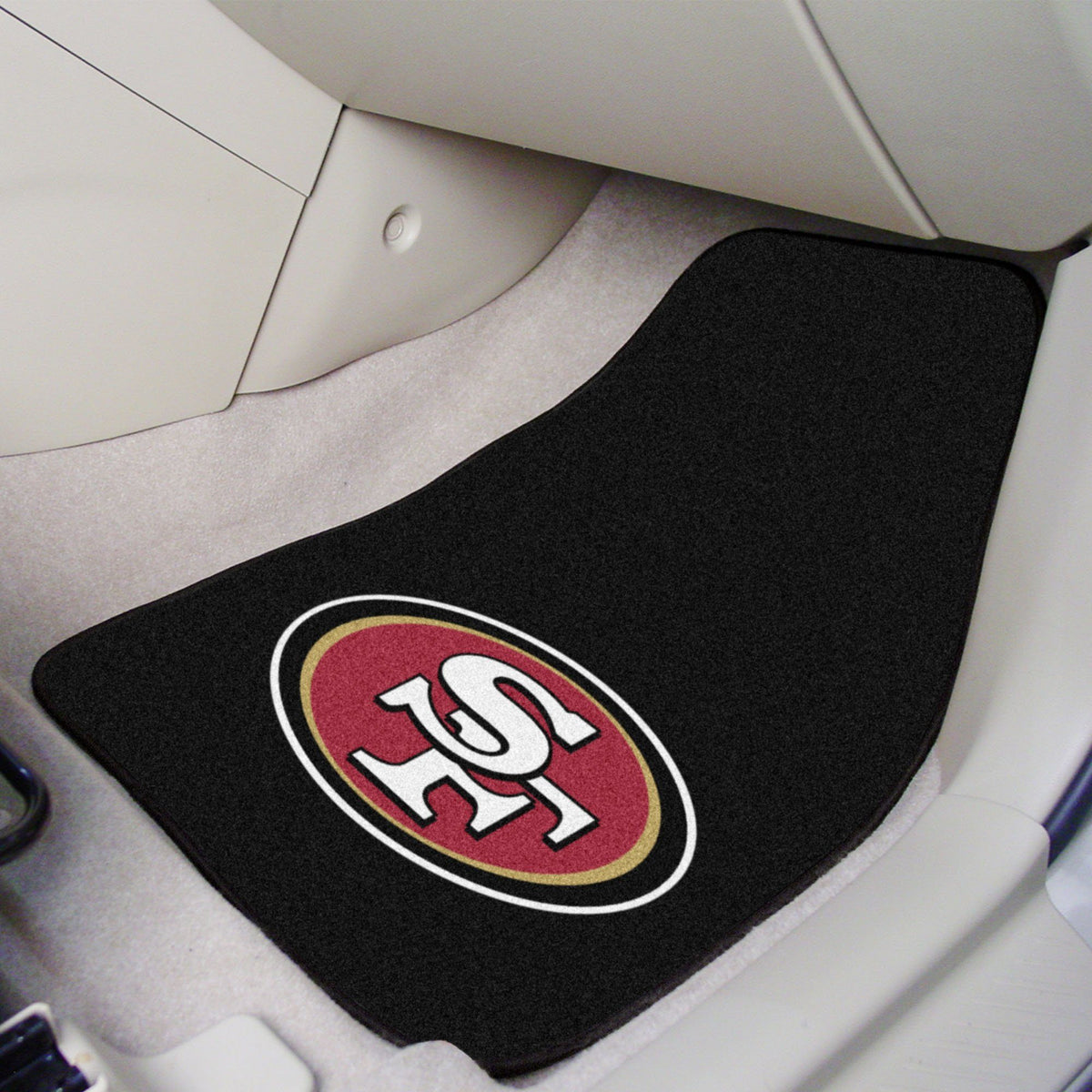 "NFL - 2-pc Carpet Car Mat Set, 17"" x 27"" NFL Mats, Front Car Mats, 2-pc Carpet Car Mat Set, NFL, Auto Fan Mats San Francisco 49ers"