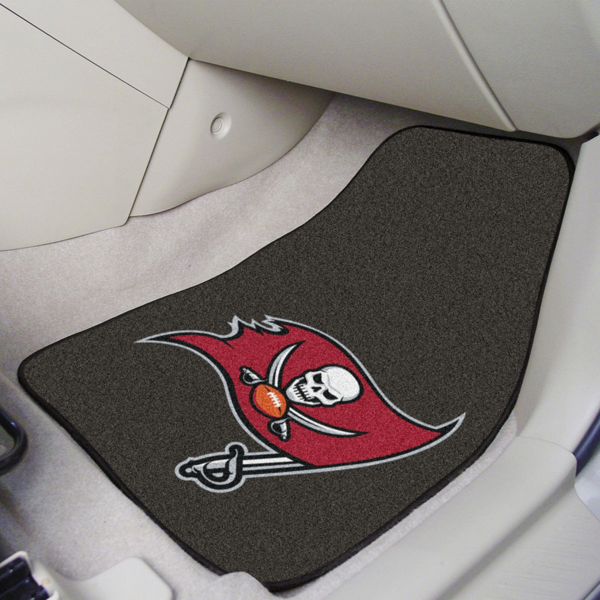 "NFL - 2-pc Carpet Car Mat Set, 17"" x 27"" NFL Mats, Front Car Mats, 2-pc Carpet Car Mat Set, NFL, Auto Fan Mats Tampa Bay Buccaneers"