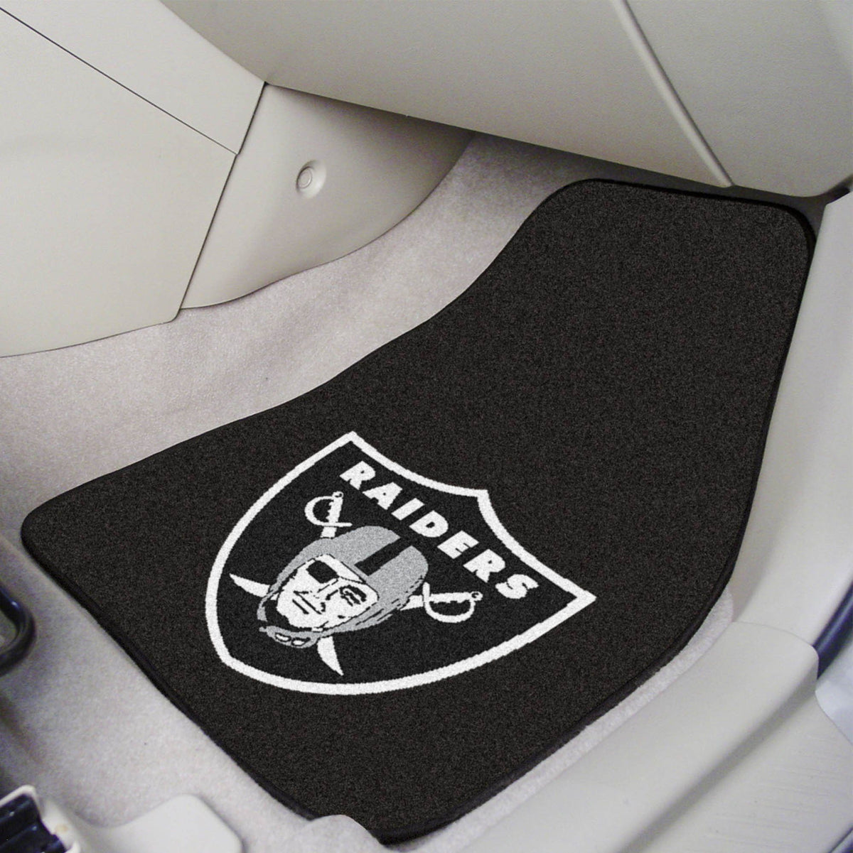 "NFL - 2-pc Carpet Car Mat Set, 17"" x 27"" NFL Mats, Front Car Mats, 2-pc Carpet Car Mat Set, NFL, Auto Fan Mats Las Vegas Raiders"