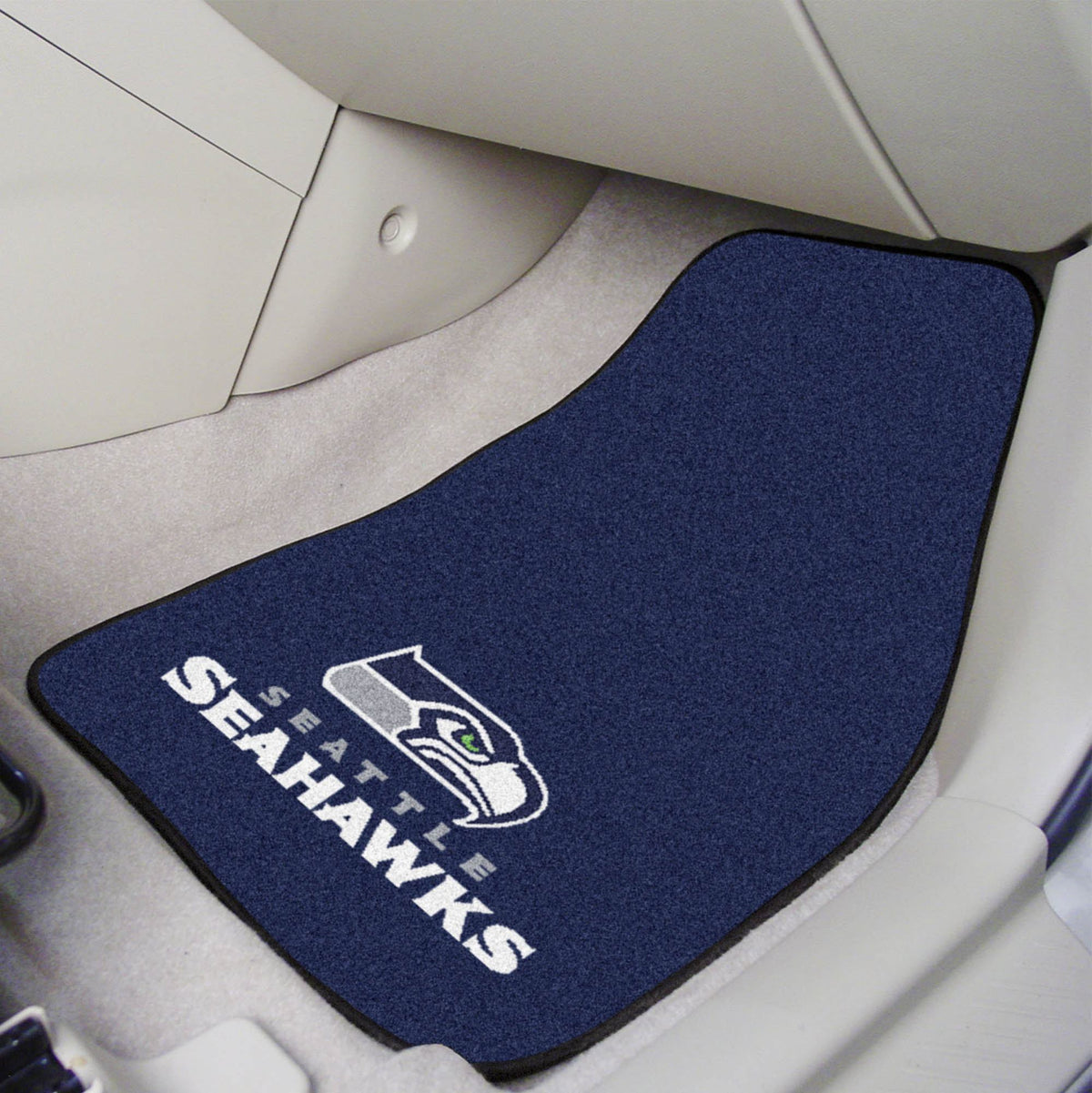 "NFL - 2-pc Carpet Car Mat Set, 17"" x 27"" NFL Mats, Front Car Mats, 2-pc Carpet Car Mat Set, NFL, Auto Fan Mats Seattle Seahawks"