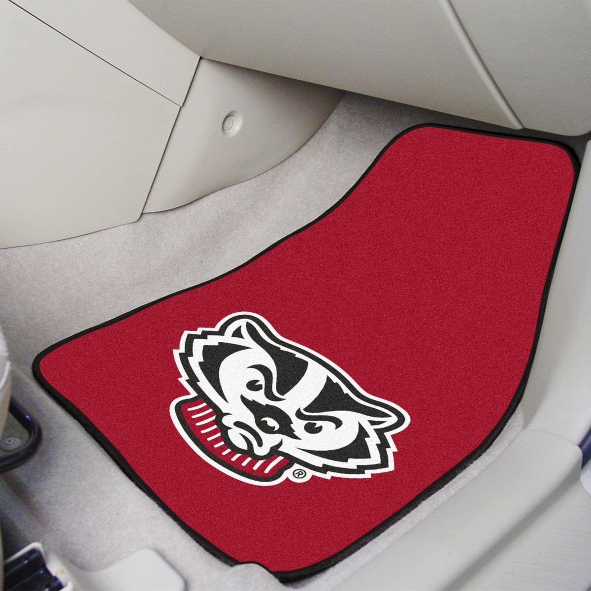 Collegiate - Carpet Car Mat, 2-Piece Set: T - Z Collegiate Car Mat, Front Car Mats, 2-pc Carpet Car Mat Set, Collegiate, Auto Fan Mats Wisconsin 2