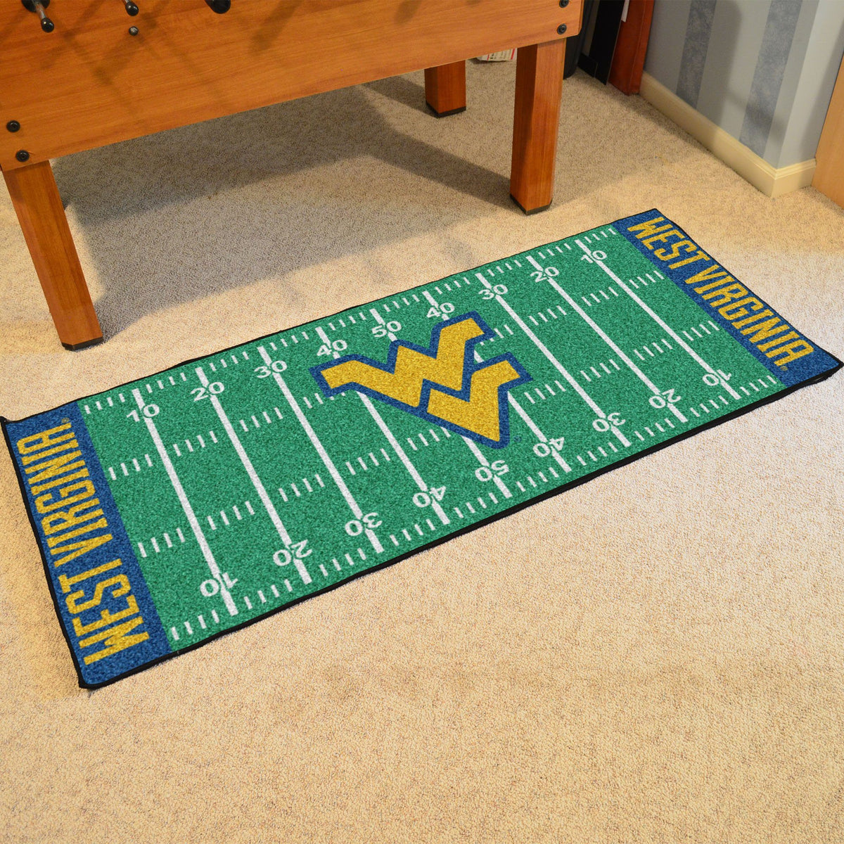 Collegiate - Football Field Runner Collegiate Mats, Rectangular Mats, Football Field Runner, Collegiate, Home Fan Mats West Virginia