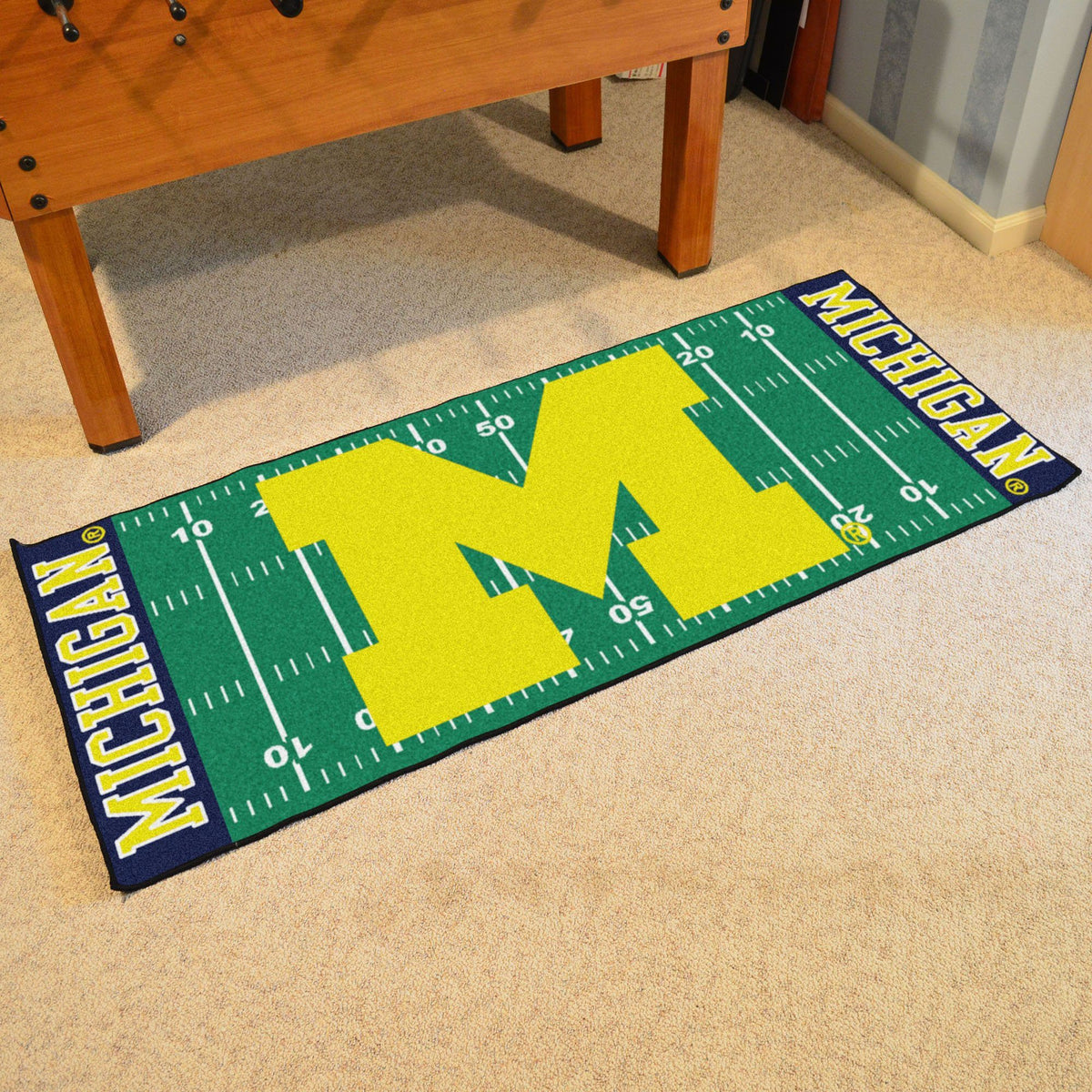 Collegiate - Football Field Runner Collegiate Mats, Rectangular Mats, Football Field Runner, Collegiate, Home Fan Mats Michigan