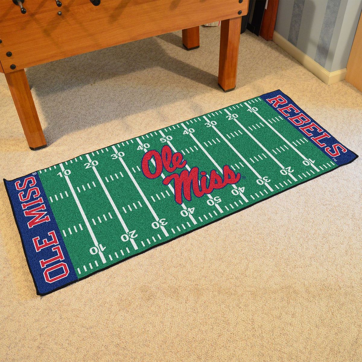 Collegiate - Football Field Runner Collegiate Mats, Rectangular Mats, Football Field Runner, Collegiate, Home Fan Mats Ole Miss