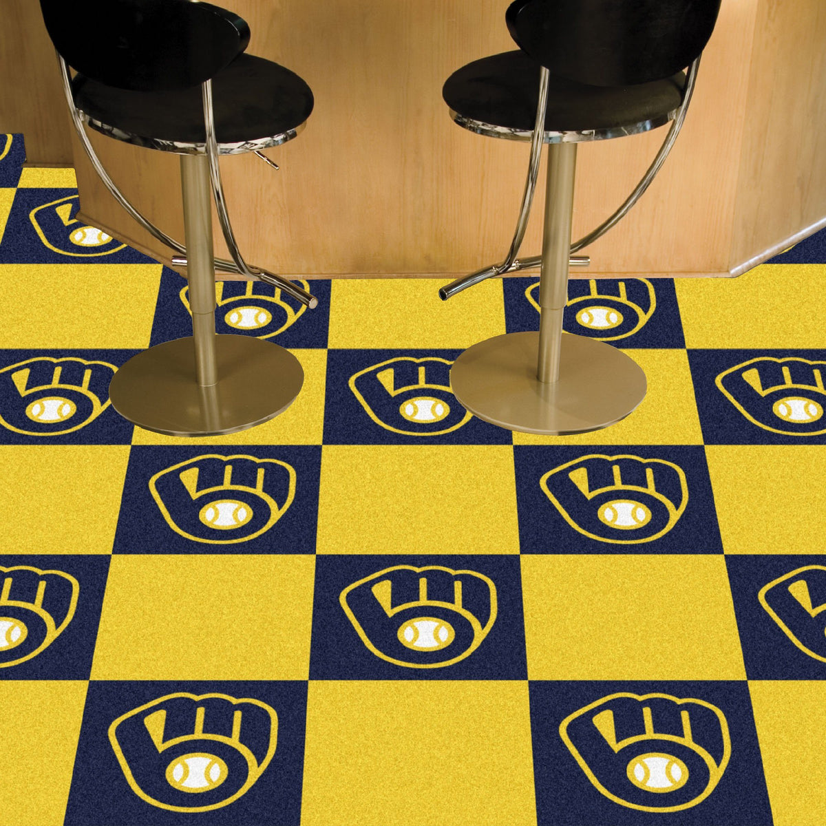 MLB - Team Carpet Tiles MLB Mats, Carpet Tile Flooring, Team Carpet Tiles, MLB, Home Fan Mats Milwaukee Brewers