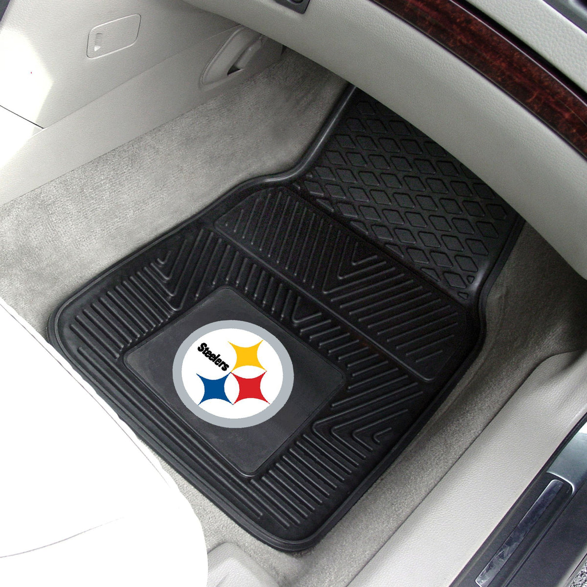 NFL - 2-pc Vinyl Car Mat Set NFL Mats, Front Car Mats, 2-pc Vinyl Car Mat Set, NFL, Auto Fan Mats Pittsburgh Steelers