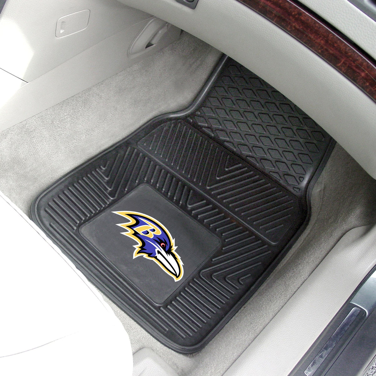 NFL - 2-pc Vinyl Car Mat Set NFL Mats, Front Car Mats, 2-pc Vinyl Car Mat Set, NFL, Auto Fan Mats Baltimore Ravens