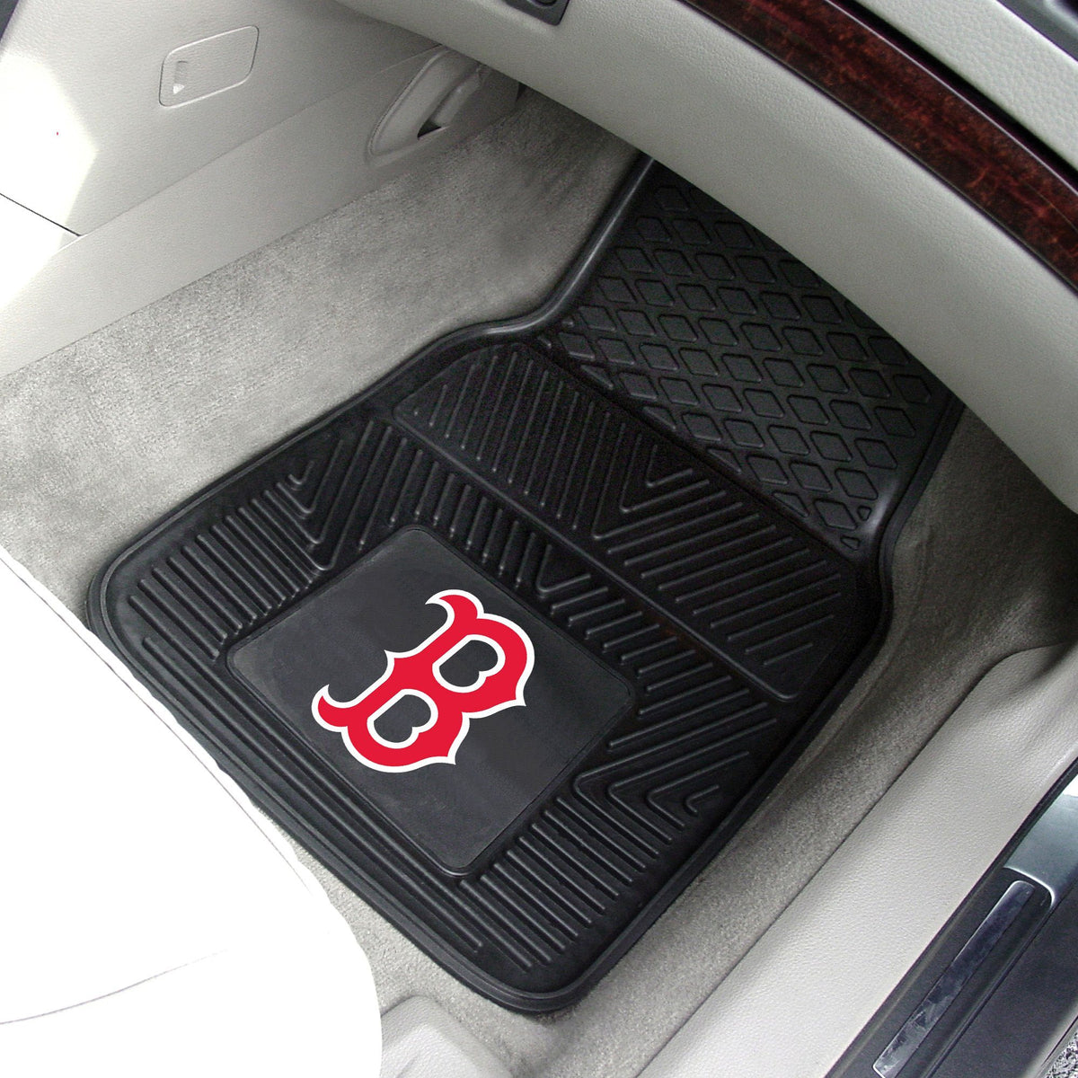 MLB - Vinyl Car Mat, 2-Piece Set MLB Mats, Front Car Mats, 2-pc Vinyl Car Mat Set, MLB, Auto Fan Mats Boston Red Sox