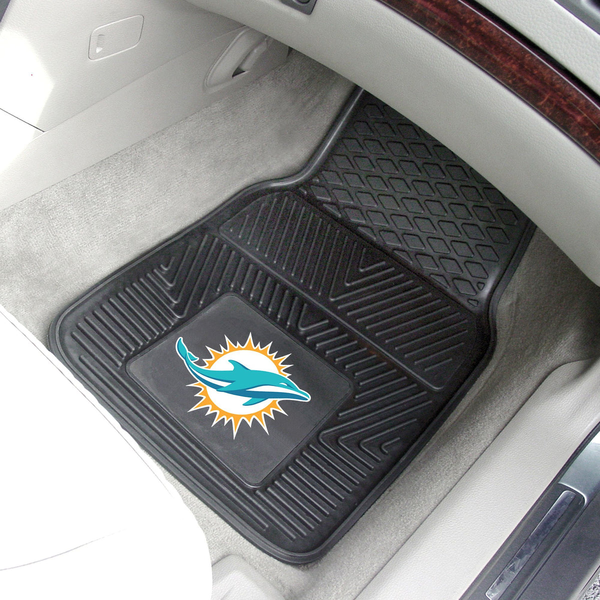 NFL - 2-pc Vinyl Car Mat Set NFL Mats, Front Car Mats, 2-pc Vinyl Car Mat Set, NFL, Auto Fan Mats Miami Dolphins