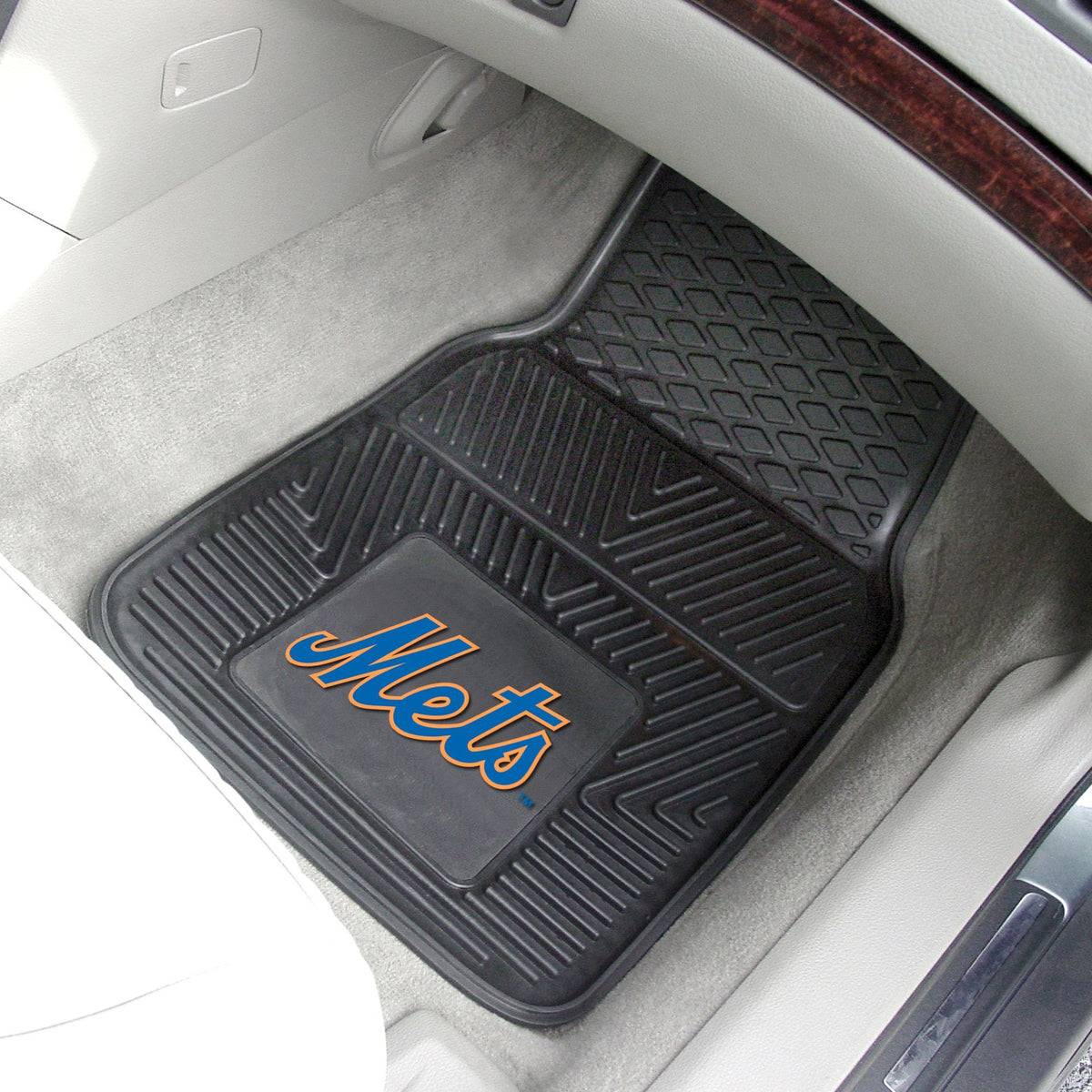 MLB - Vinyl Car Mat, 2-Piece Set MLB Mats, Front Car Mats, 2-pc Vinyl Car Mat Set, MLB, Auto Fan Mats New York Mets