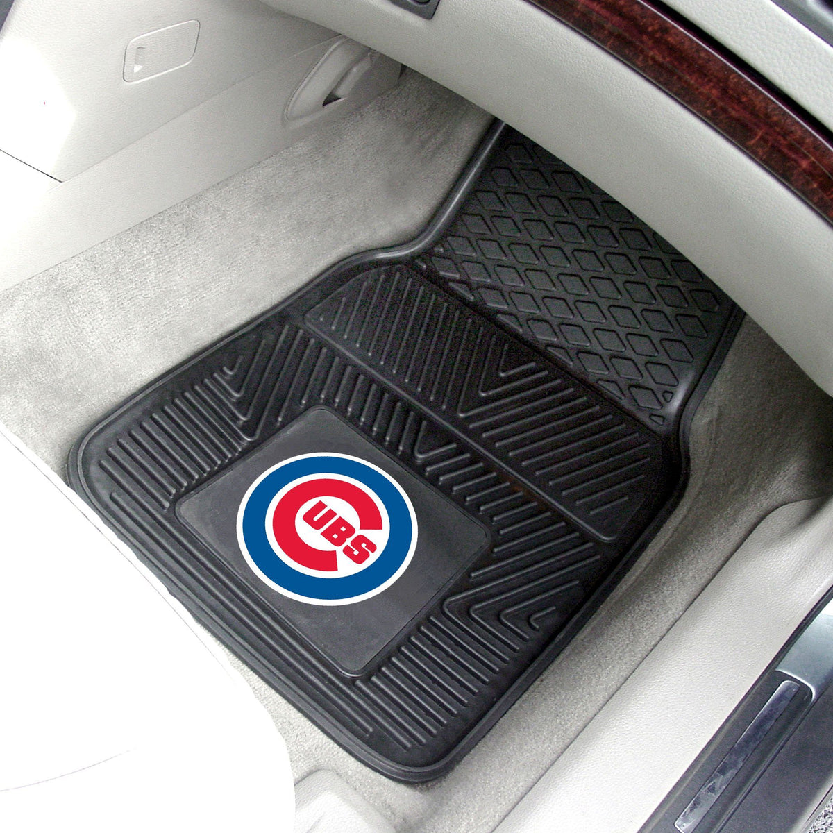 MLB - Vinyl Car Mat, 2-Piece Set MLB Mats, Front Car Mats, 2-pc Vinyl Car Mat Set, MLB, Auto Fan Mats Chicago Cubs