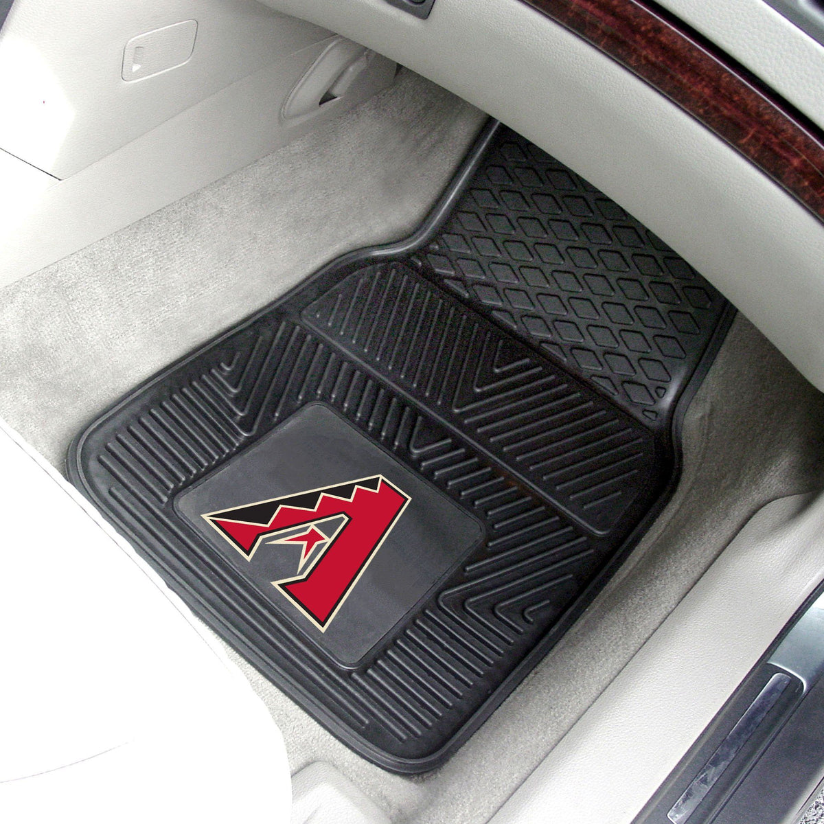MLB - Vinyl Car Mat, 2-Piece Set MLB Mats, Front Car Mats, 2-pc Vinyl Car Mat Set, MLB, Auto Fan Mats Arizona Diamondbacks