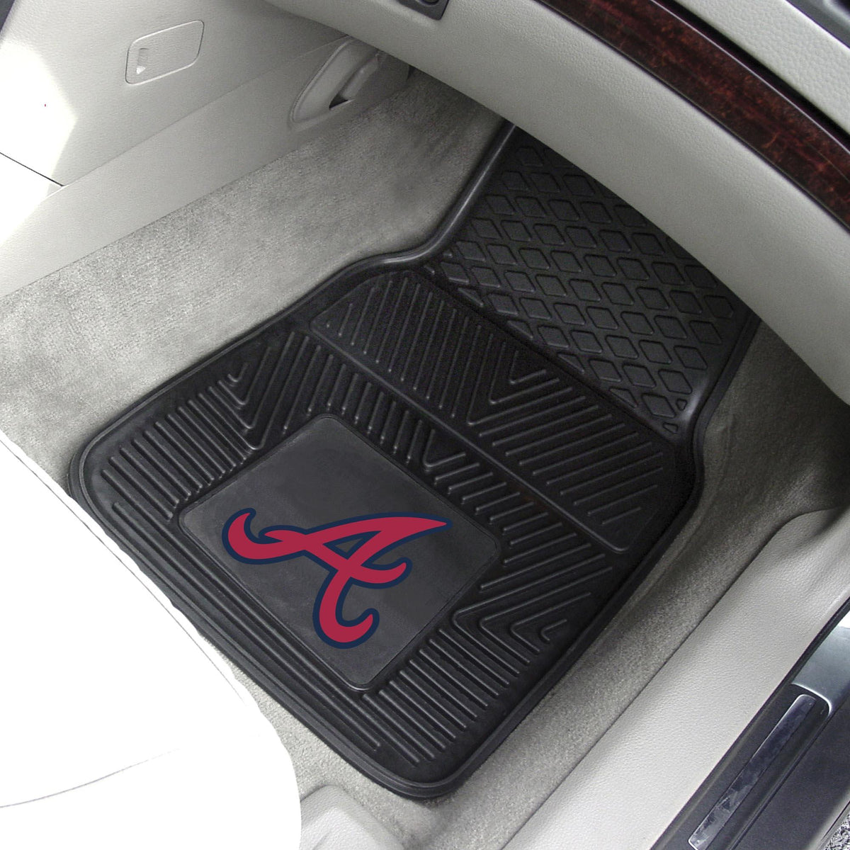 MLB - Vinyl Car Mat, 2-Piece Set MLB Mats, Front Car Mats, 2-pc Vinyl Car Mat Set, MLB, Auto Fan Mats Atlanta Braves