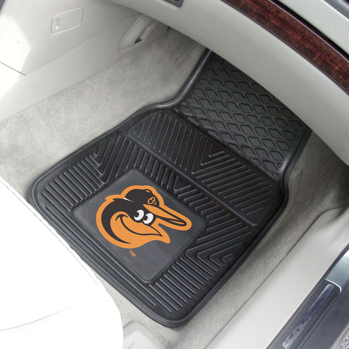 MLB - Vinyl Car Mat, 2-Piece Set MLB Mats, Front Car Mats, 2-pc Vinyl Car Mat Set, MLB, Auto Fan Mats Baltimore Orioles